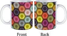 Large Coffee Mug,Hexagon Hex Geo Geometric Crochet