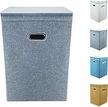 Large Collapsible Laundry Basket, 80L Linen Fabric