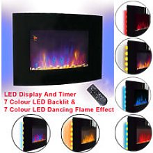 Large Curved Wall Mounted Electric Fire Place