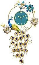 Large Decorative Wall Clock,102 * 62CM Peacock