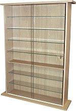 Large Display Media Cabinet - Oak.
