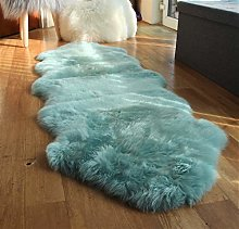 Large Double Duck Egg Blue Sheepskin Rug