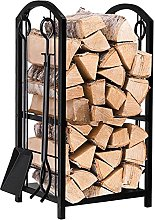 Large Fireplace Log Holder with Tools, Wrought