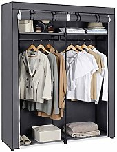 Large Grey Fabric Canvas Bedroom Wardrobe, Double