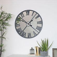 Large Grey Metal Distressed Mirrored Wall Clock