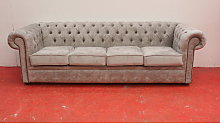 Large Grey Silver Chesterfield sofa  