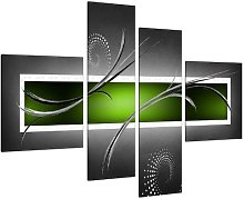 Large Lime Green Grey Abstract Canvas Wall