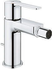 Large linear one-hand bidet mixer, with drain set,