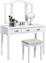 Large Make-up Dressing Table Set with Tri-fold