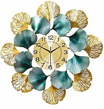 Large Metal Round Wall Clock, Creative Ginkgo Leaf