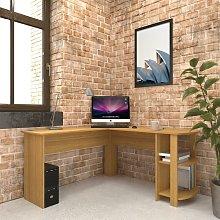 Large Oak Corner Desk with shelves for Home Office