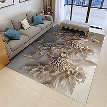 Large Outdoor Rug,Modern 3D Relief Peony Flower