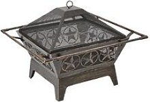 Large Outdoor Steel Fireplace Pit Bowl Mesh Lid