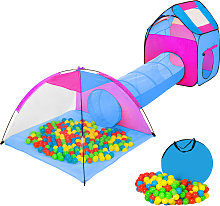 Large play tent with tunnel + 200 balls for kids -