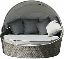 Large Rattan Day Bed With Sun Canopy 180cm Diameter - Grey - Grey - Charles Bentley