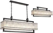 Large Rectangular Ceiling Pendant, 12 Light E27,