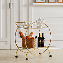 Large Round 2 Tiers Drinks Trolley Bar Wine Glass