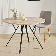 Large Round Dining Table Wooden Tabletop Metal