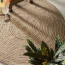 Large Round Natural 100% Braided Jute and Cotton