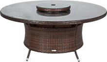 Large Round Rattan Garden Dining Table with Lazy