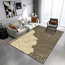 Large Rug Brown and yellow printing stitching