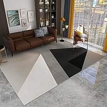 Large Rug, Modern Gray Black Triangle Geometric
