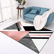 Large Rug, Modern Pink Black Triangle Stripe