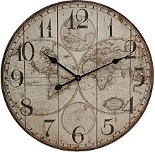 Large Rustic Wall Clock with World Map Design -
