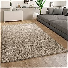 Large Shaggy Rug Deep Pile Brown Soft Fluffy Cosy