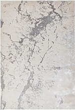 Large Silver Marble Effect Rug - 200x290 cm -