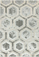 Large Silver Rug with Hexagon Pattern - 200x290cm