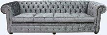 Large Silver Velvet Chesterfield sofa UK |