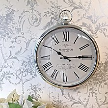 Large Silver Wall Clock Vintage Pocket Fob Style