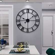 Large Vintage Style Wall Clock, Round, Metal,