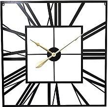 Large Wall Clock European Creative Square Roman
