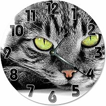Large Wall Clock Kitchen Clock GREEN-Eyed GRAY CAT