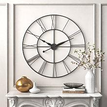 Large Wall Clock Rustic Roman Numerals Dark Grey,