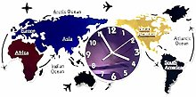 Large Wall Clock Silent Movement,3D DIY World Map