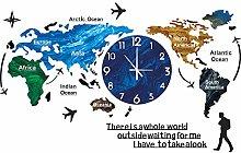 Large Wall Clock, World Map Wall Clock Modern