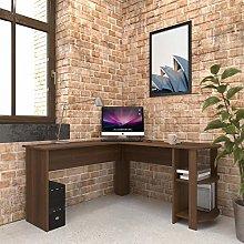 Large Walnut Corner Desk with shelves for Home