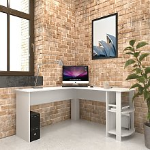 Large White Corner Desk with shelves for Home