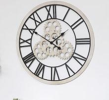 Large Wood & Metal Gear Skeleton Wall Clock