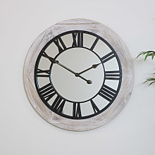 Large Wooden Mirrored Skeleton Clock