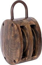 Large Wooden Rope Pulley
