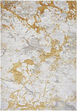 Large Yellow Rug with Marble Effect - 120x180cm -