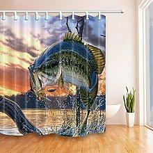 Largemouth Bass Bathroom Shower Curtain Waterproof