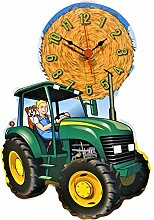 Lark Rise green tractor wall hanging clock