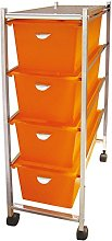 laroom 11993 – Narrow Cart 4 Drawers, Orange
