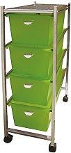 laroom 11994Narrow Cart 4Drawers, Green
