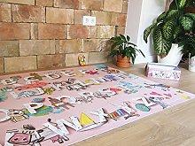 laroom Vinyl Carpet Children's Alphabet Design, Vinyl antiliscante 100x133cm pink